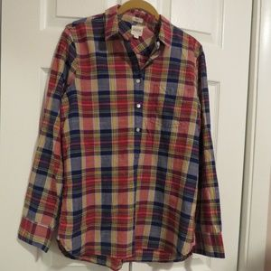 J.Crew Plaid Gauze Shirt Boy Fit Sz Small Red Navy
